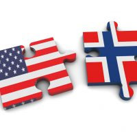 USA and Norway Flags on Puzzle